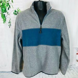 GAP Gray & Blue Fleece L/S 1/4 Zip Pullover Large